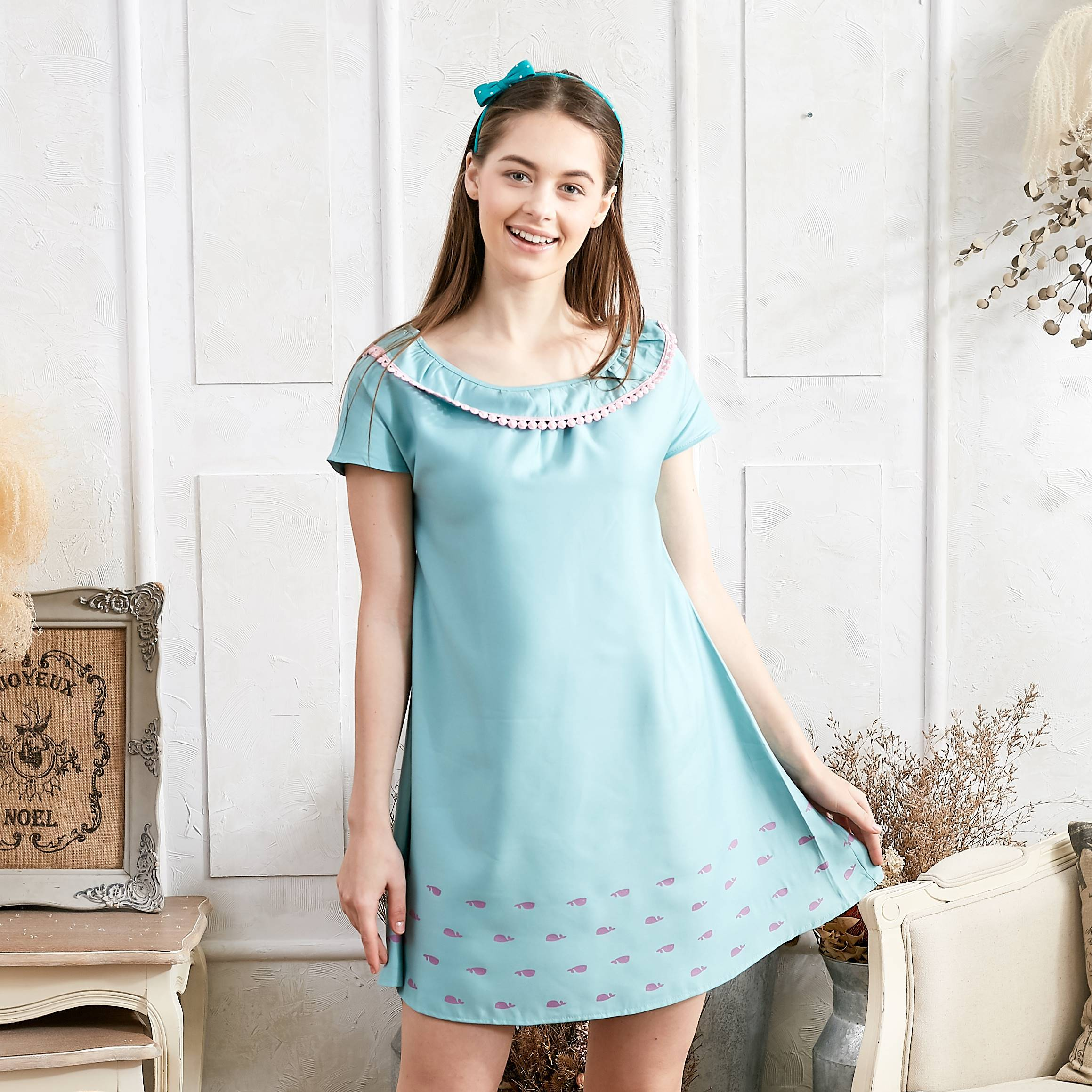 Whale printed dress with pom pom (green) - Bunny n Bloom Mommy & Me Dress