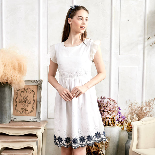 Floral Embroidered Fit & Flare Dress - Bunny n Bloom Mommy & Me Dress