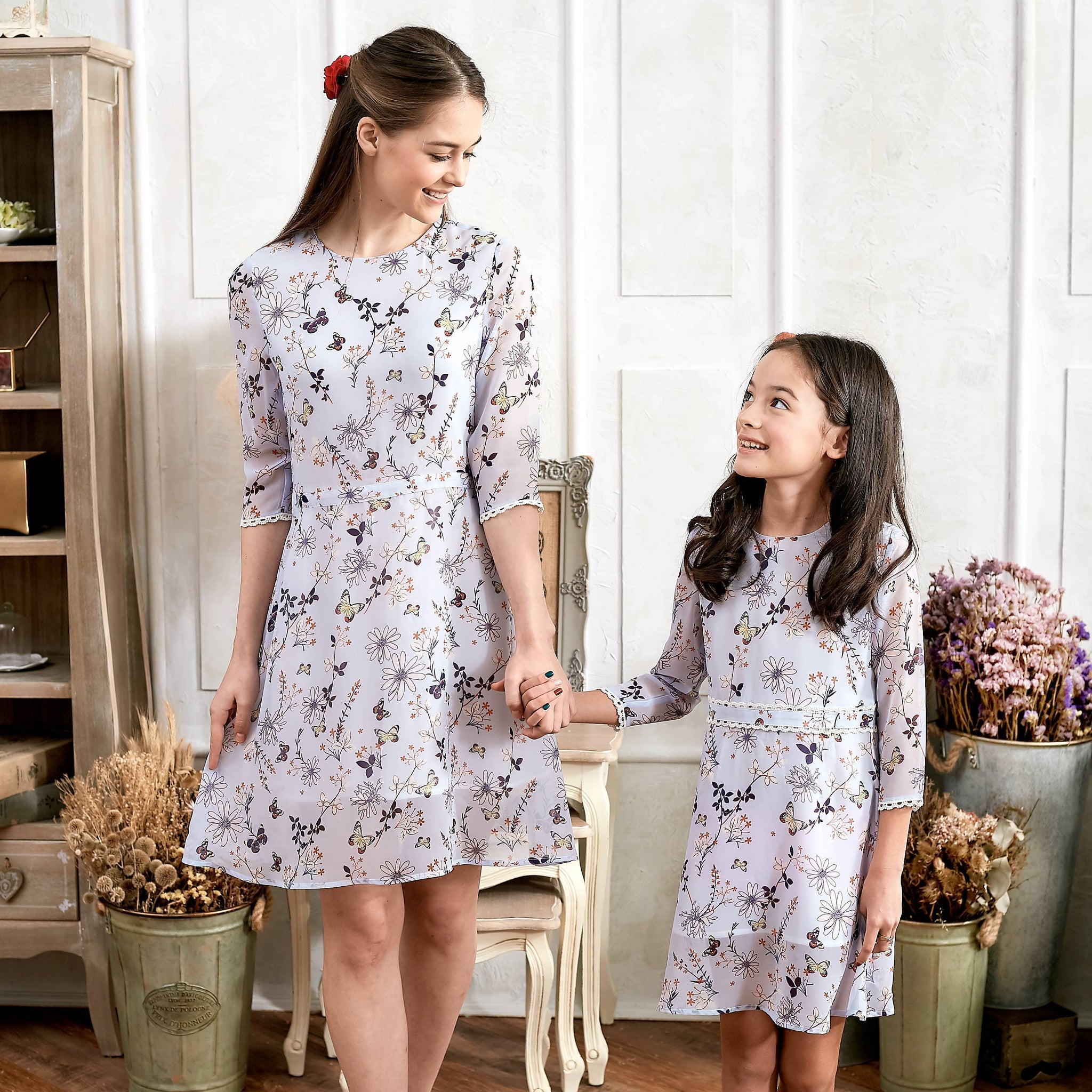 (Mommy & Me) Floral Lace Dress (set of 2) - Bunny n Bloom Mommy & Me Dress
