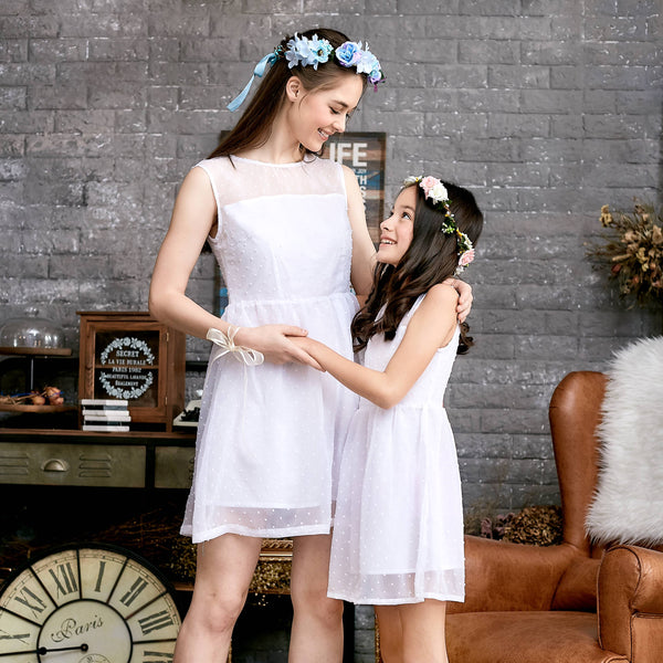 (Mommy & Me) Ethereal Dotted Mesh Dress (set of 2) - Bunny n Bloom Mommy & Me Dress