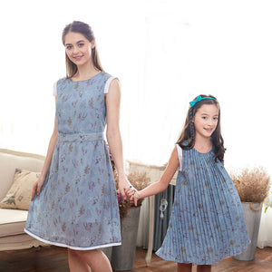 (Mommy & Me) Blue Floral Dress (set of 2) - Bunny n Bloom Mommy & Me Dress