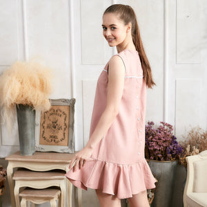 Pink Ruffle Drop Waist Dress