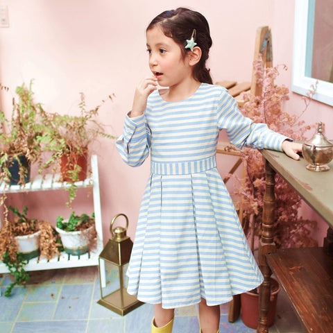 Strip dress (blue) - Bunny n Bloom Mommy & Me Dress