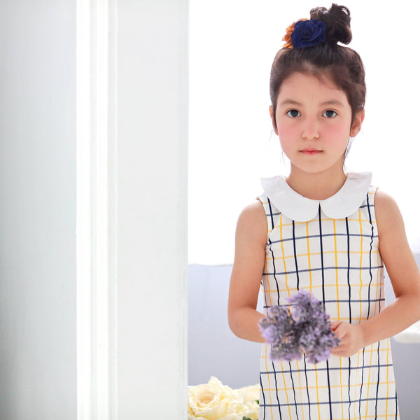 Windowpane A-Line Dress  (yellow) - Bunny n Bloom Mommy & Me Dress
