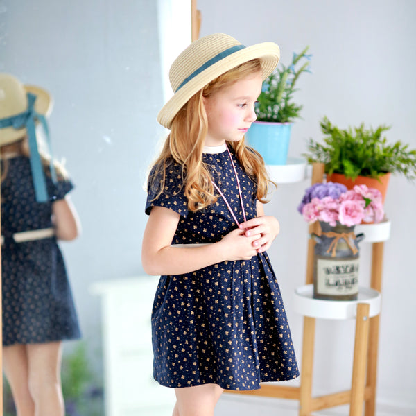Classic floral Dress (blue) - Bunny n Bloom Mommy & Me Dress