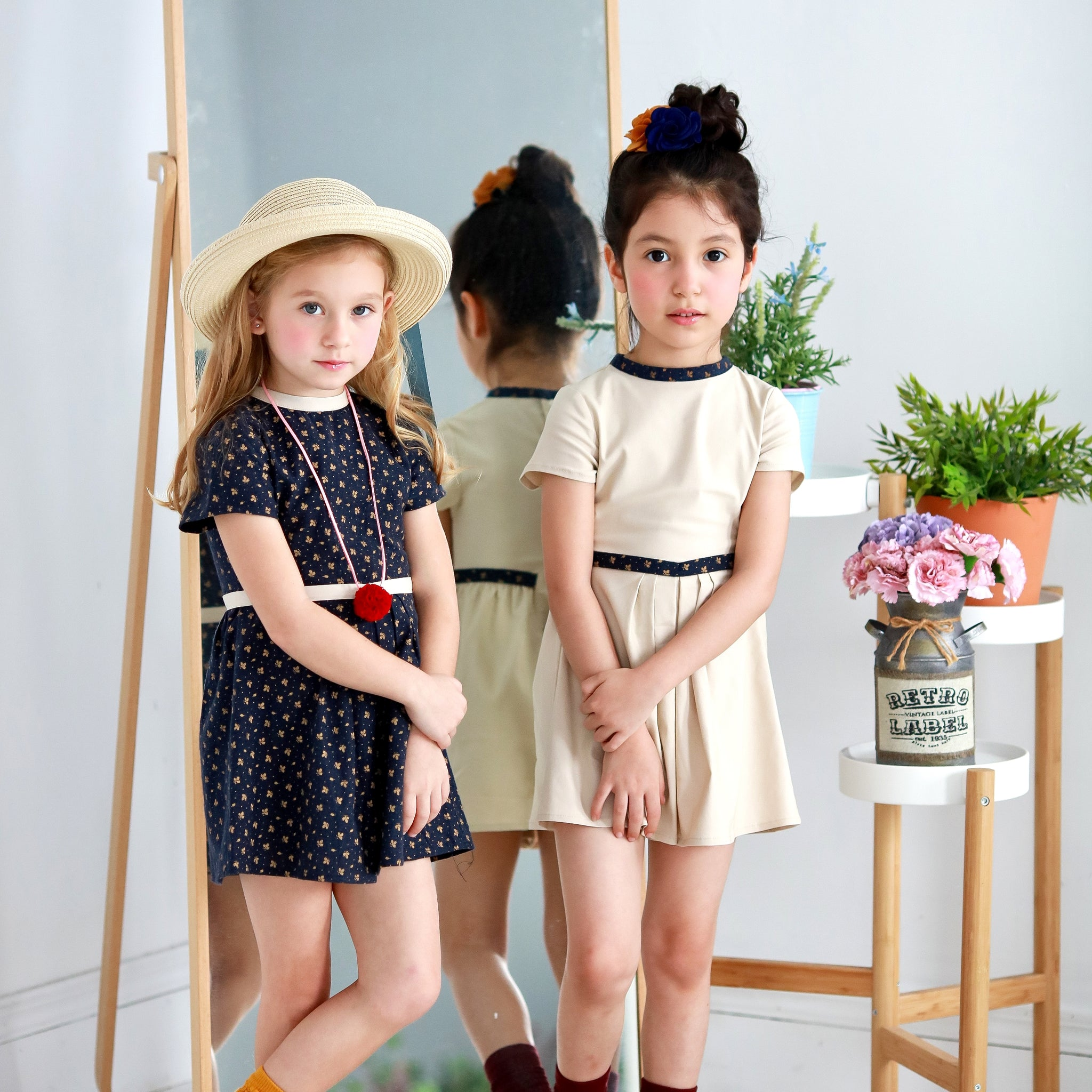 Classic floral Dress (beige) - Bunny n Bloom Mommy & Me Dress
