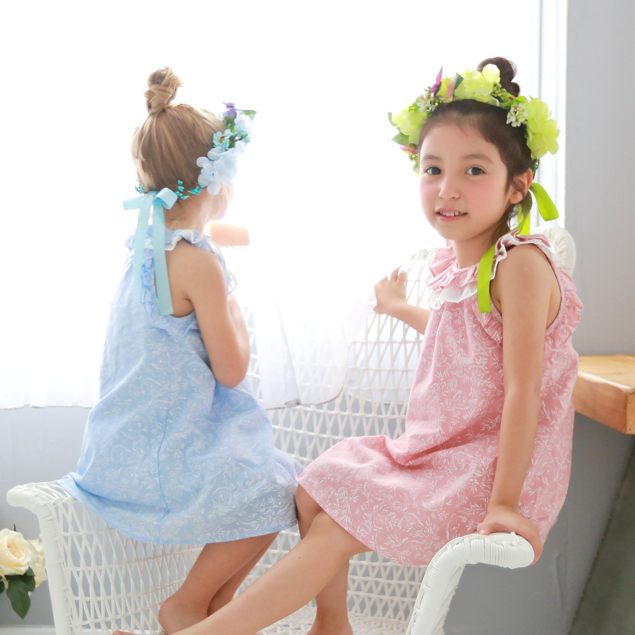 Fairytale printed floral oversize dress  (blue) - Bunny n Bloom Mommy & Me Dress
