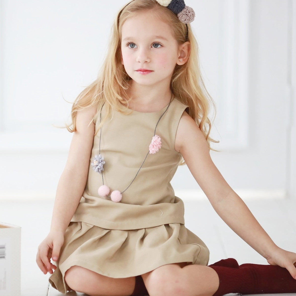 Elegant sleeveless dress  (brown) - Bunny n Bloom Mommy & Me Dress
