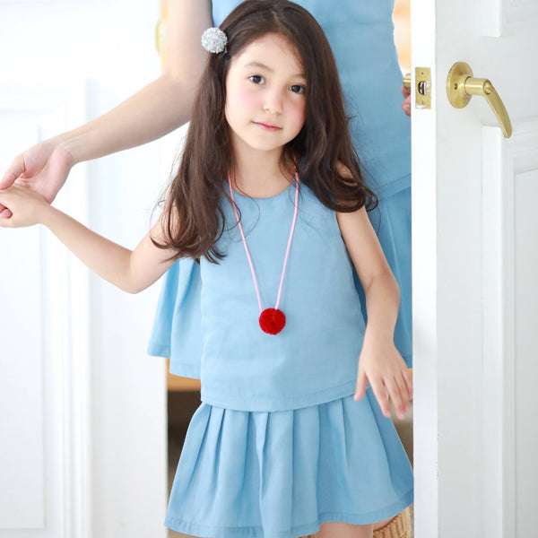 Elegant sleeveless dress  (blue) - Bunny n Bloom Mommy & Me Dress