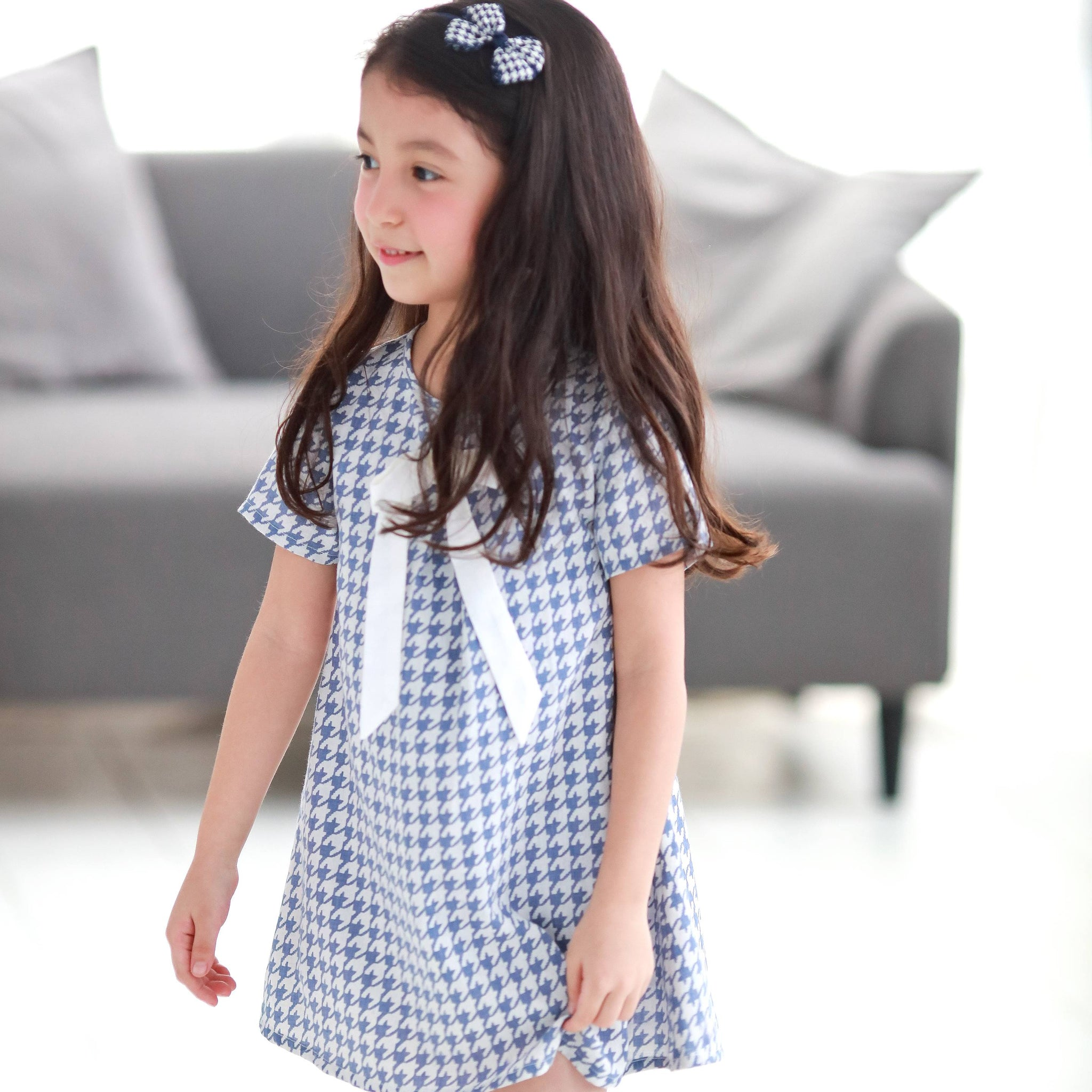 Houndstooth with cute bow dress  (blue) - Bunny n Bloom Mommy & Me Dress