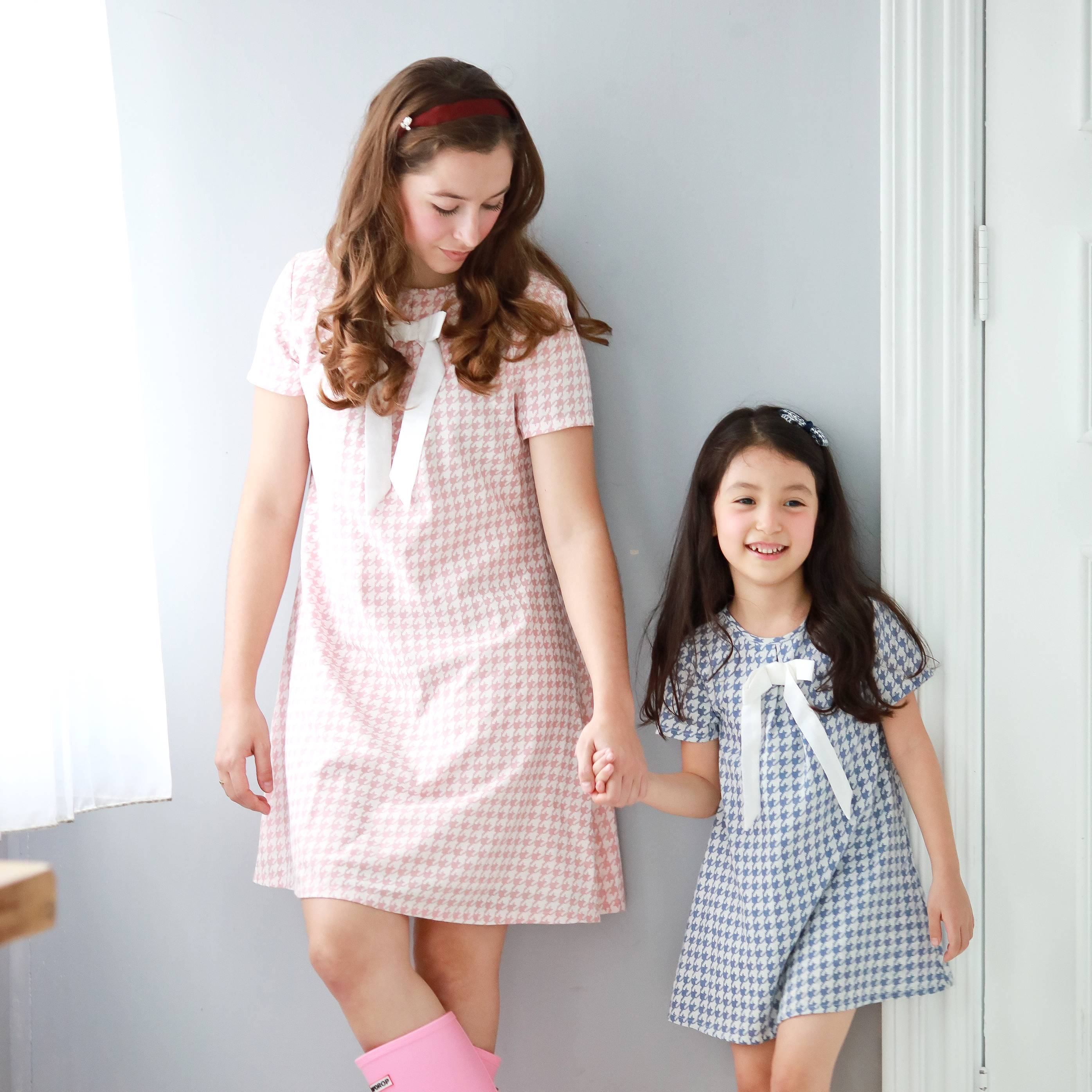 (Mommy & Me) Houndstooth with cute bow dress (set of 2) - Bunny n Bloom Mommy & Me Dress