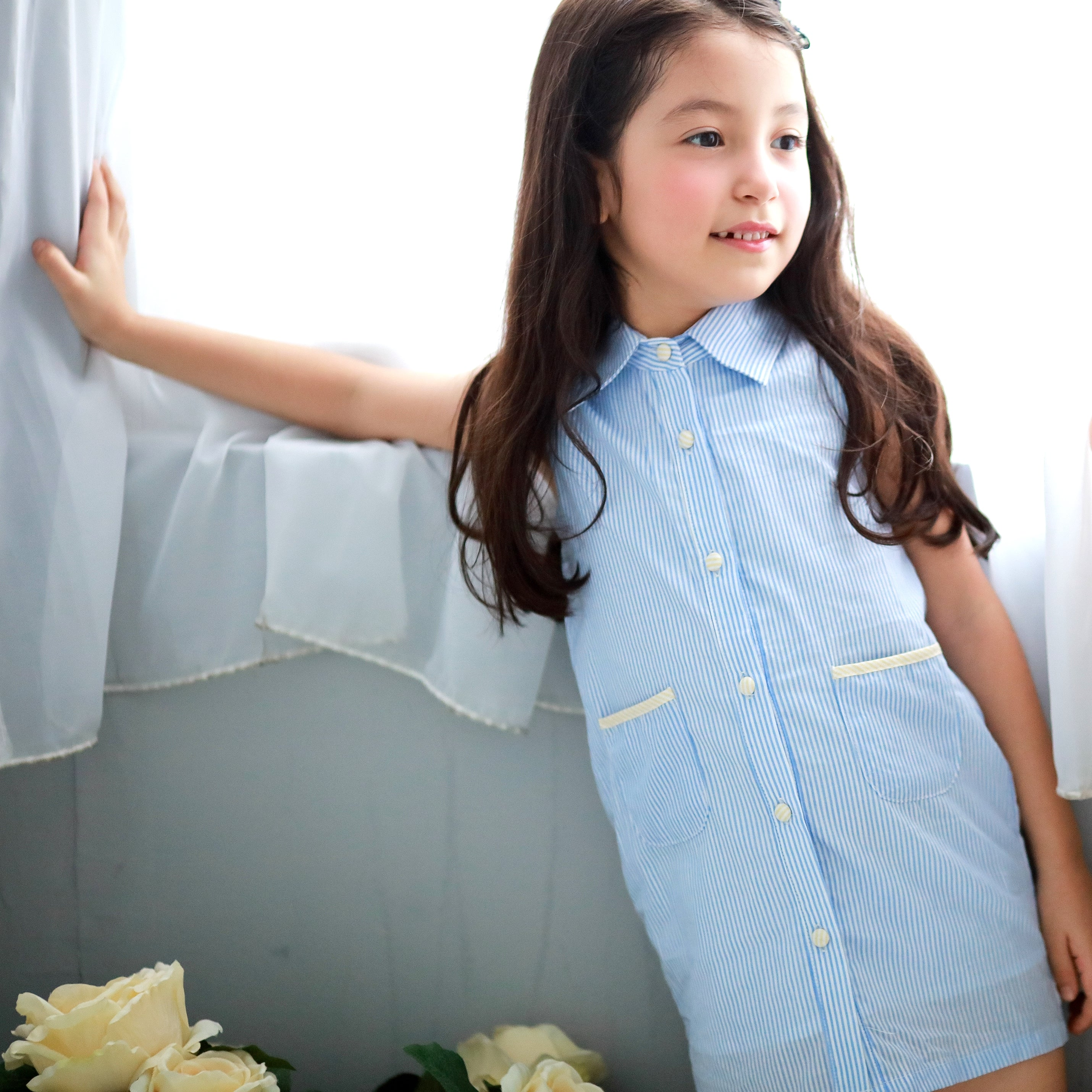 Cotton Strip Dress (blue) - Bunny n Bloom Mommy & Me Dress