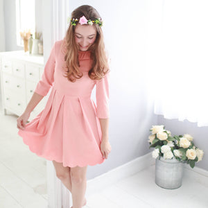 Three-quarter sleeve lotus leaf collar dress  (pink) - Bunny n Bloom Mommy & Me Dress