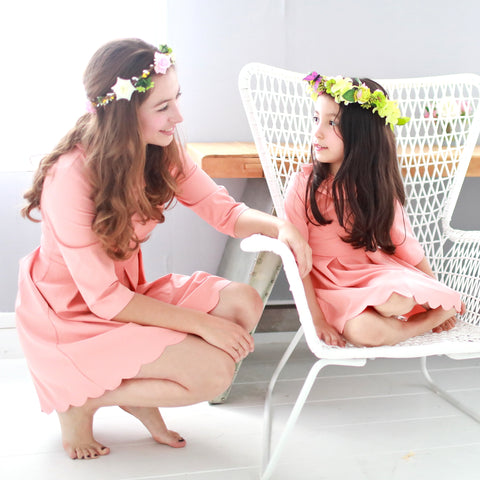 (Mommy & Me ) Three-quarter sleeve lotus leaf collar dress (set of 2) - Bunny n Bloom Mommy & Me Dress