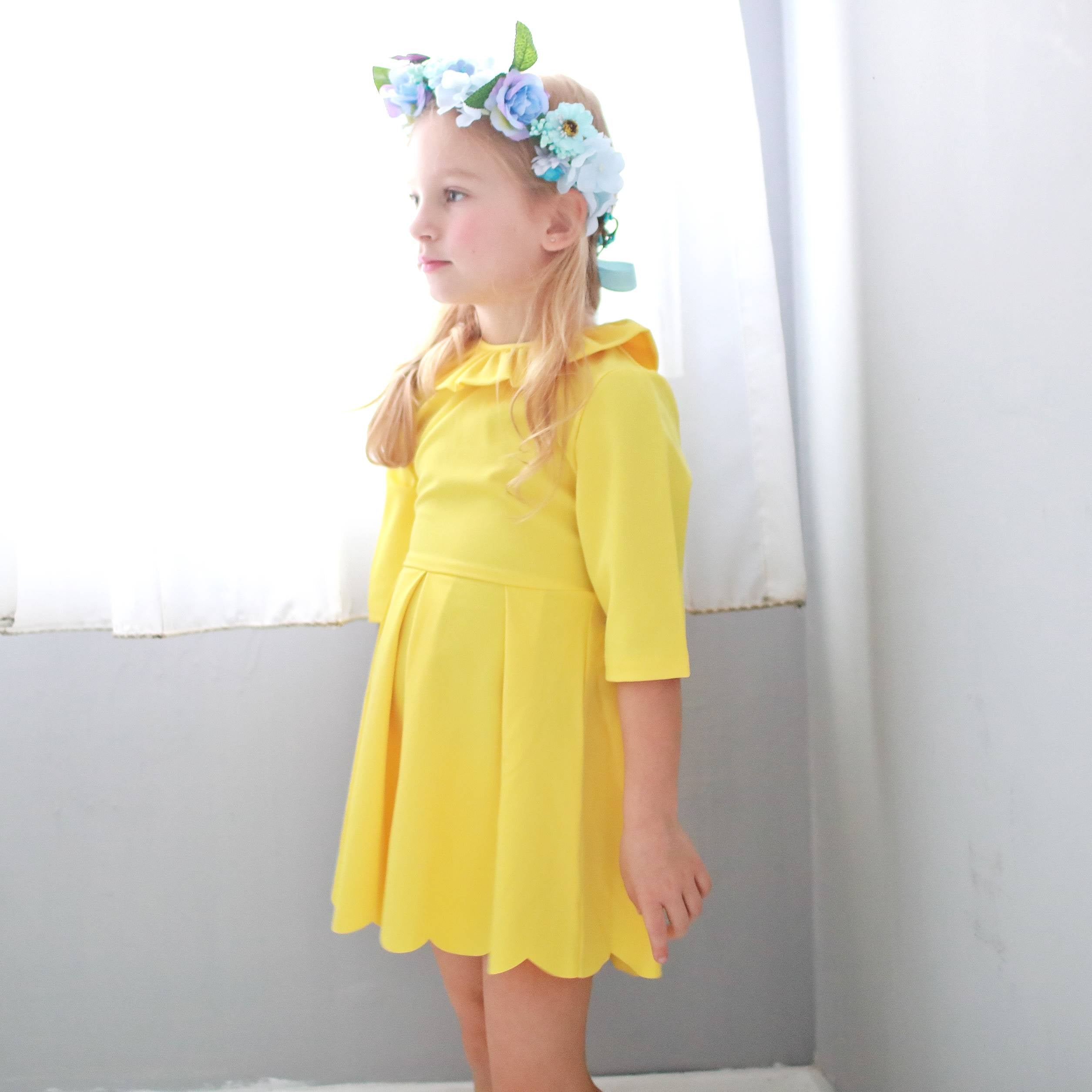 Three-quarter sleeve lotus leaf collar dress (yellow) - Bunny n Bloom Mommy & Me Dress