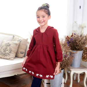 Deer Hooded Fit & Flare Dress (red)