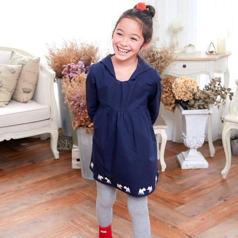 Deer Hooded Fit & Flare Dress (blue) - Bunny n Bloom Mommy & Me Dress