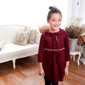 (Mommy & Me) Burgundy dress with ruffles (infant/toddler/girl) - Bunny n Bloom Mommy & Me Dress