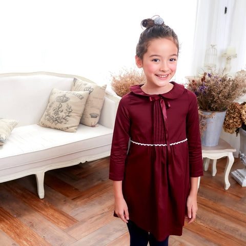 Burgundy dress with ruffles (infant/toddler/girl) - Bunny n Bloom Mommy & Me Dress