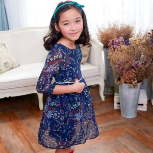 Floral Tunic Dress (blue) - Bunny n Bloom Mommy & Me Dress