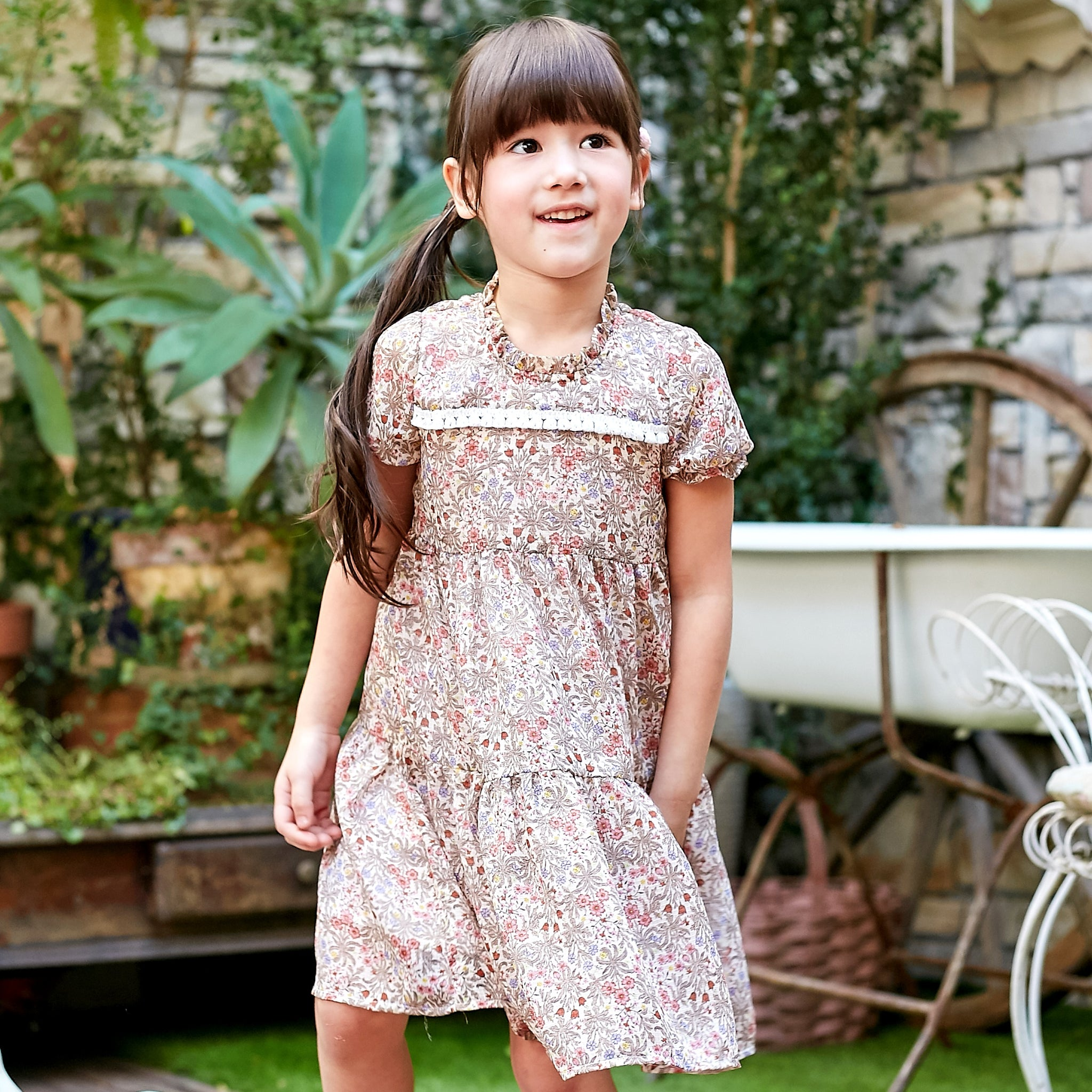 Girl Dress -Floral Embroidered A line dress