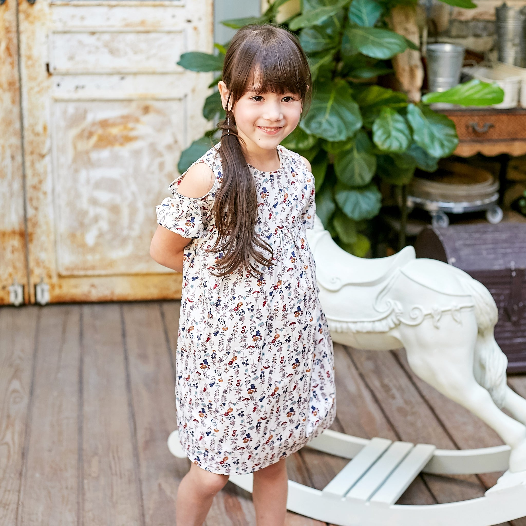 (Girl) Floral-Print cold-shoulder Dress