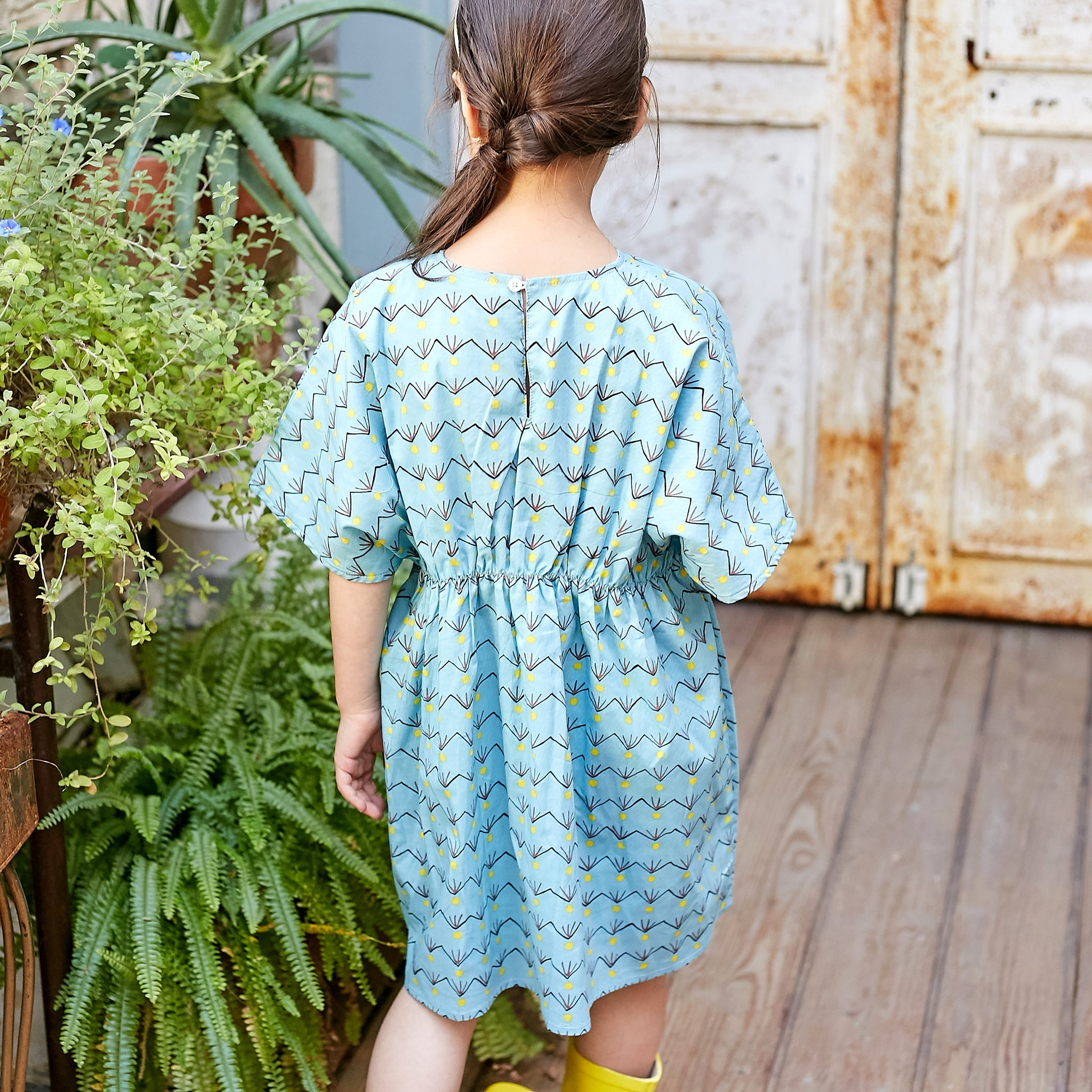 Girl Dress -Sky cap sleeves dress