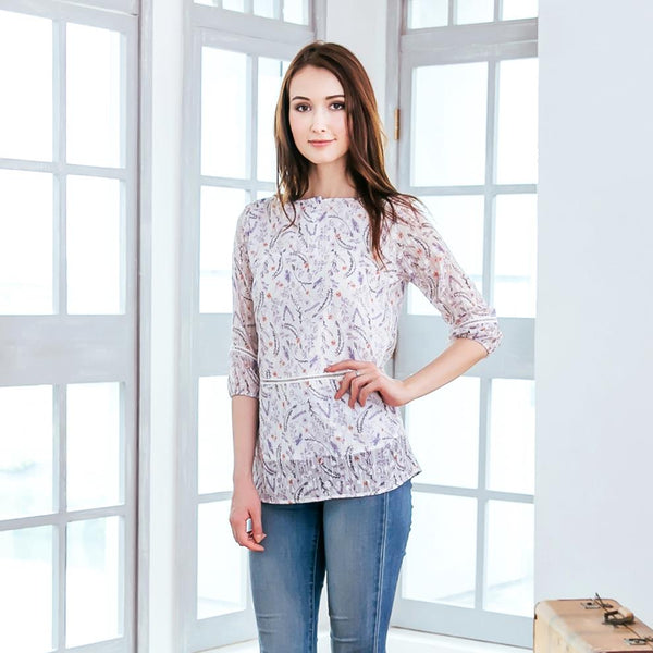 Woman top -Chiffon purple floral top