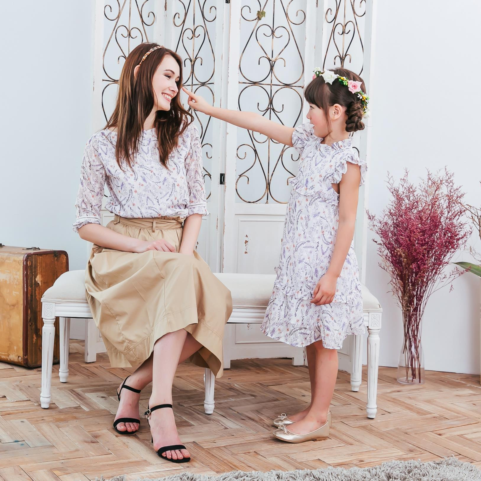 Mommy & Me- Chiffon floral matching outfit (set of 2)