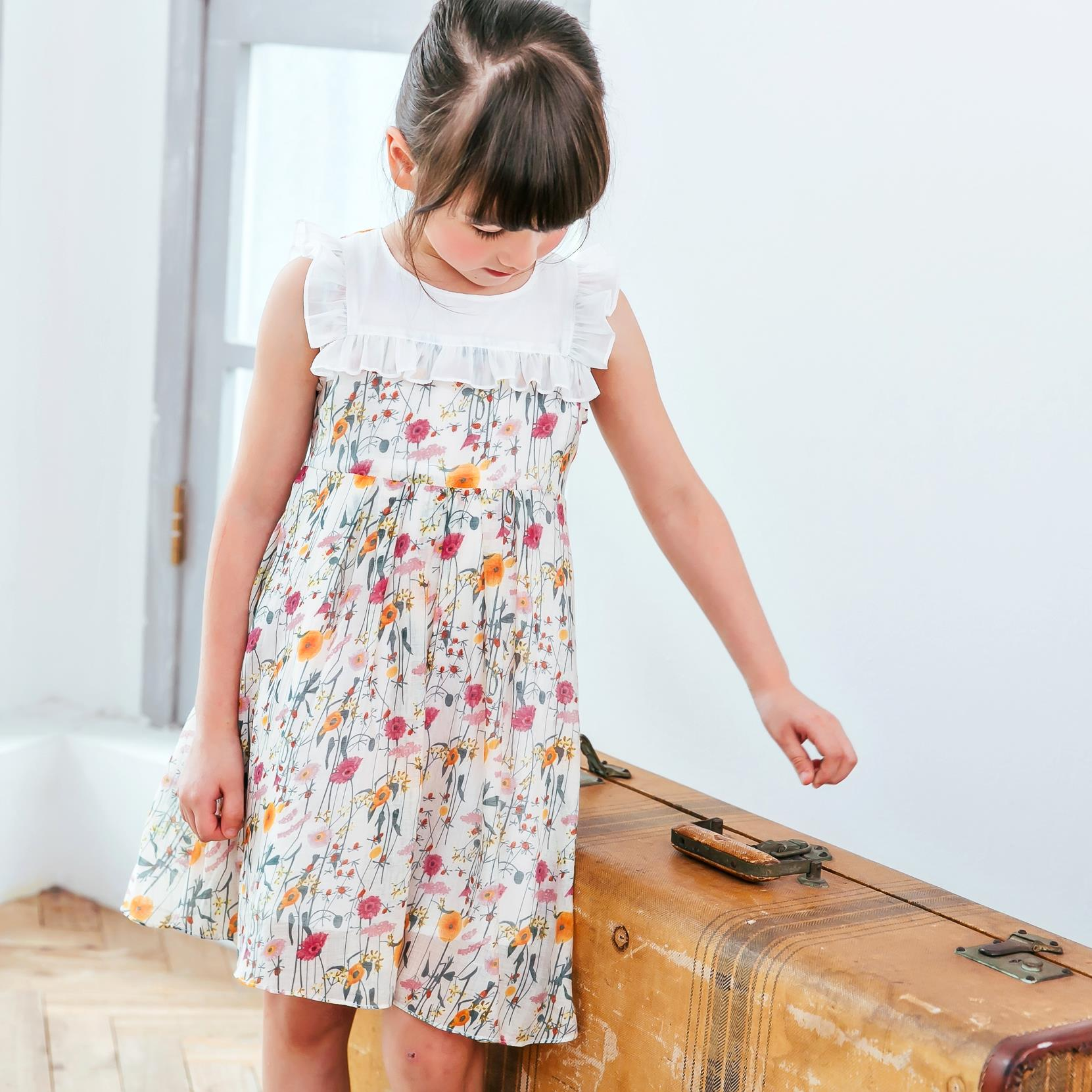 (Girl) Floral Ruffled-Trim Cotton Dress