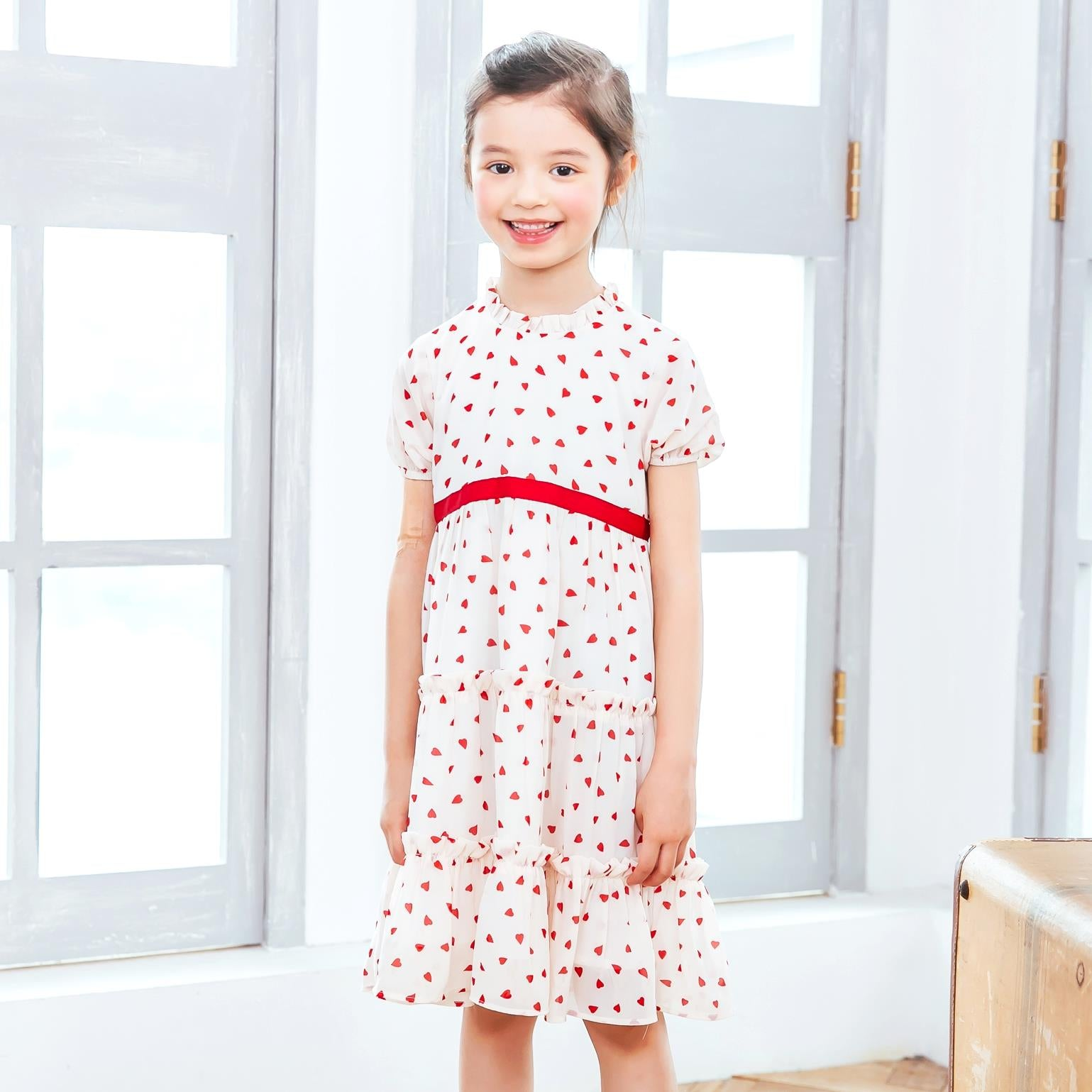 (Mommy & Me) Heart-shaped polka dot dress (set of 2)