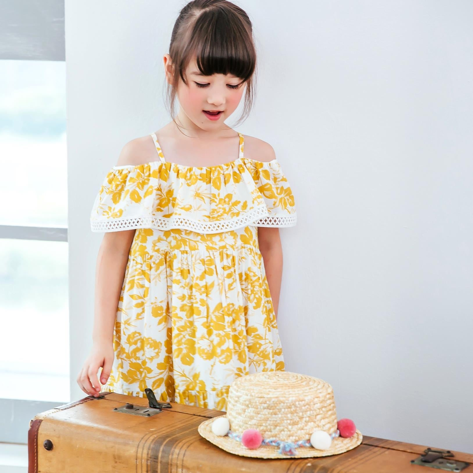 (Girl) Yellow floral off-the-shoulder dress
