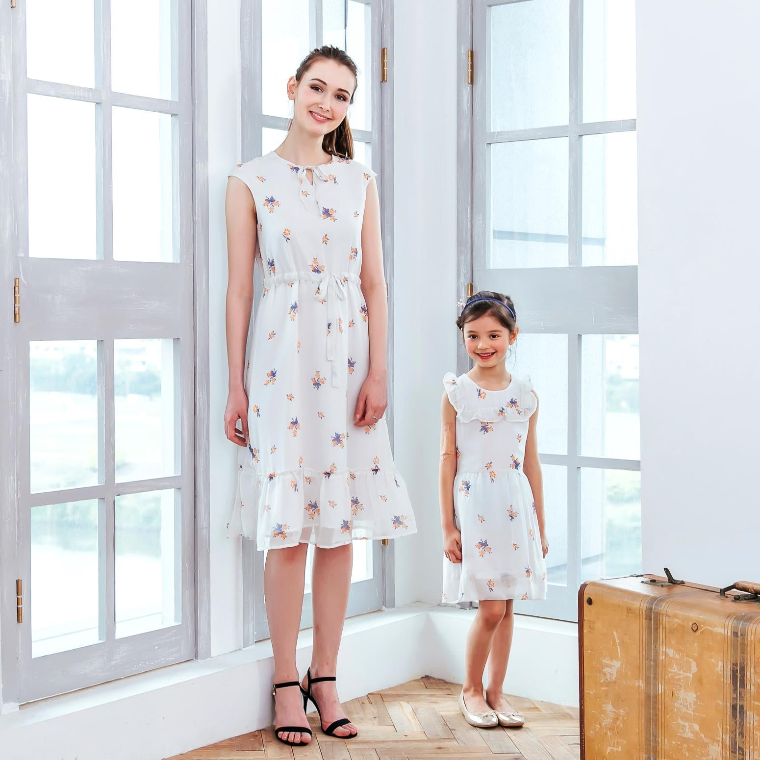 (Mommy & me) Floral Chiffon dress (set of 2)