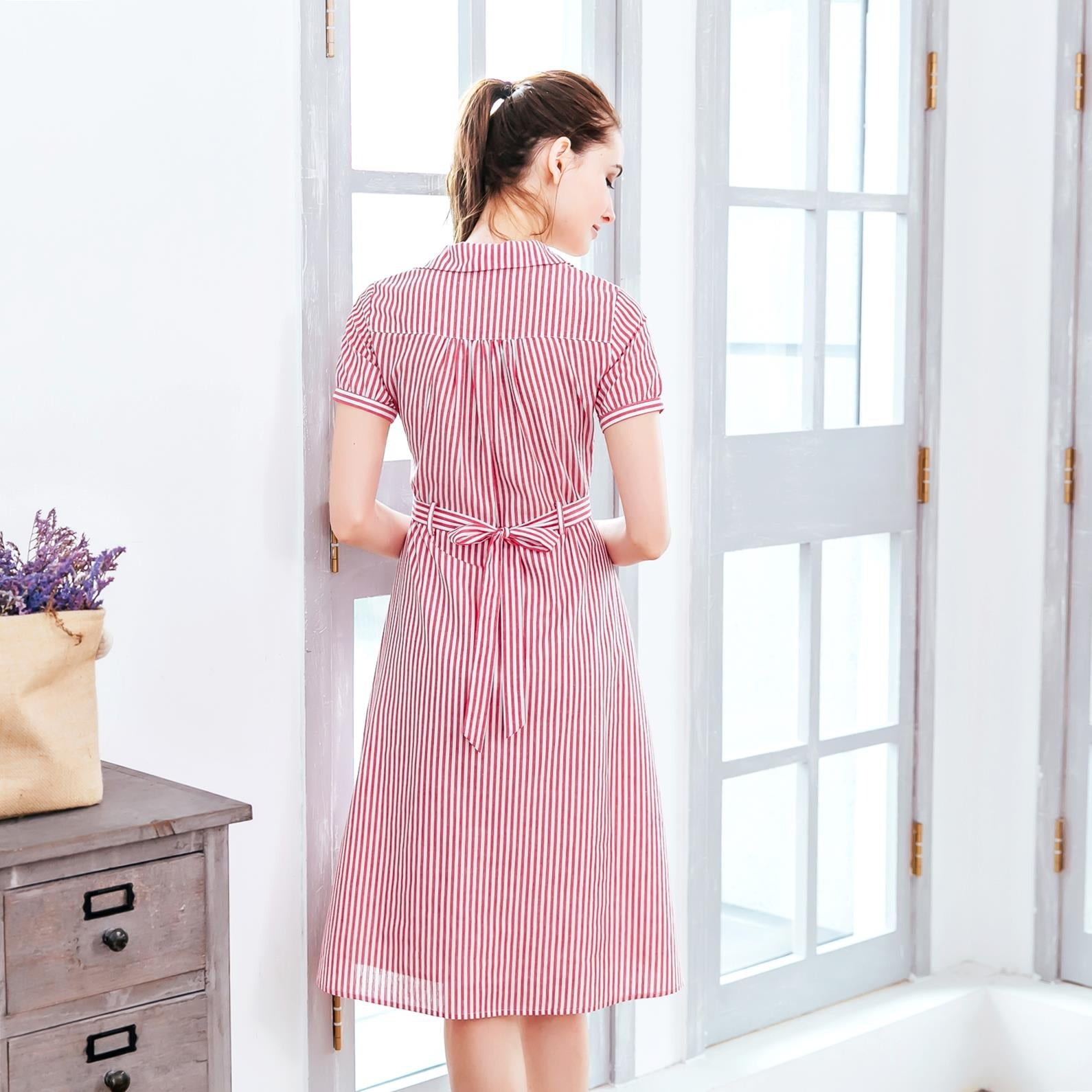 (Woman) Red stripe shirt dress