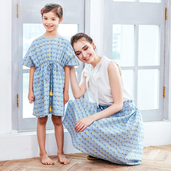 Mommy & Me- Sky blue dress (set of 2)