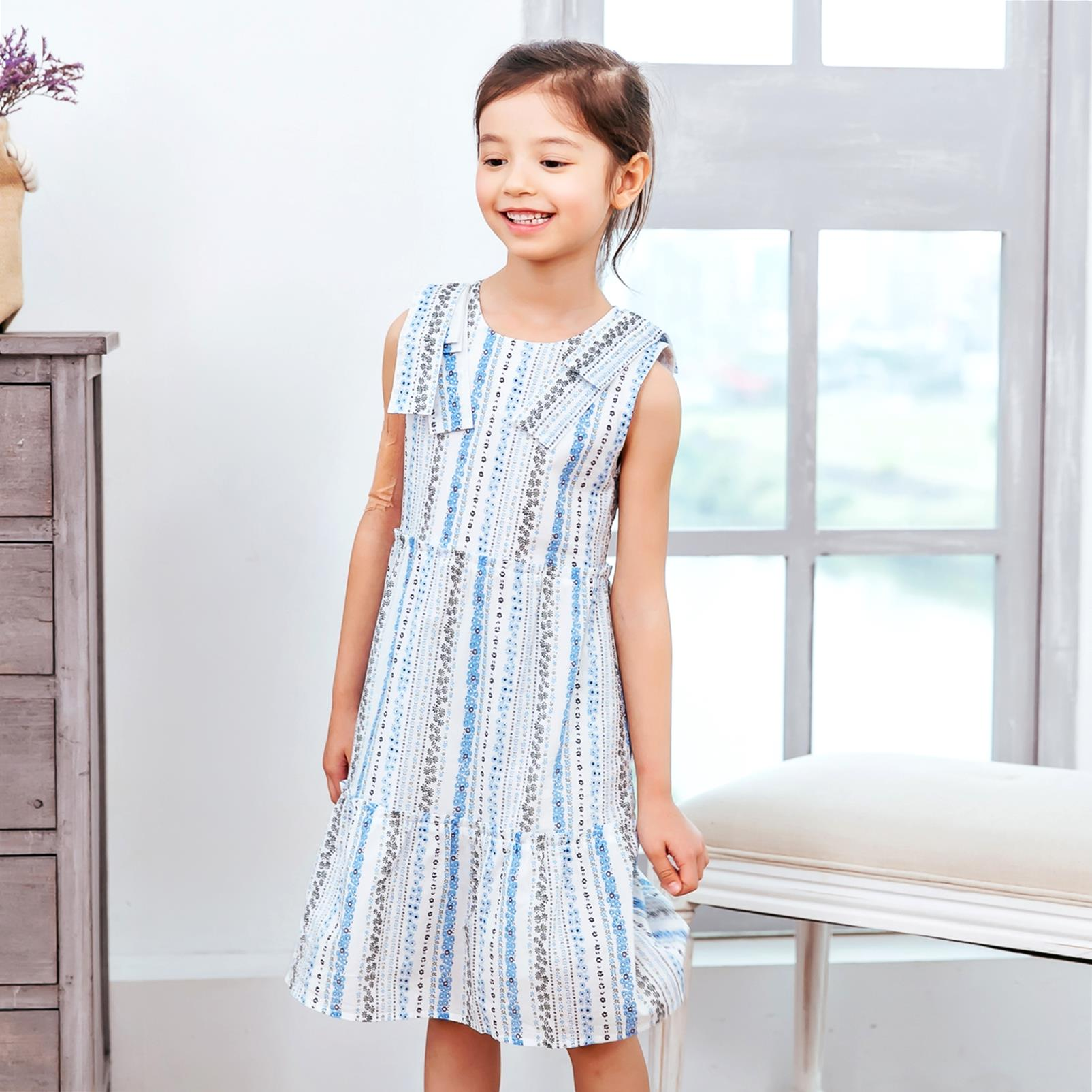 Girl Dress -Sleeveless Blue floral stripped fit-n-flare dress