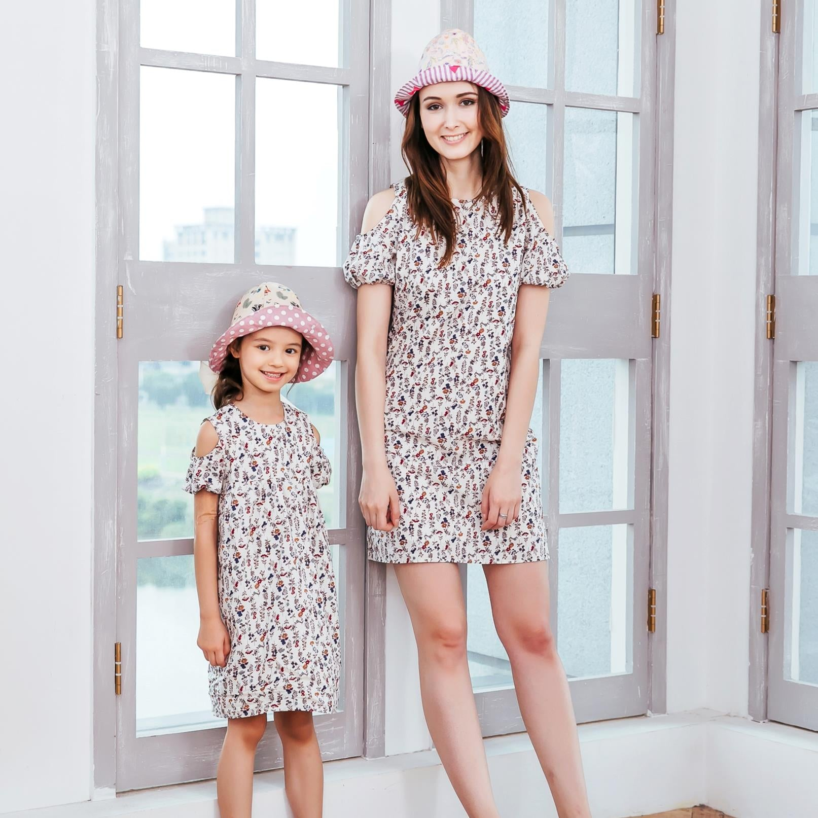 (Mommy & Me) Floral cold-shoulder dress