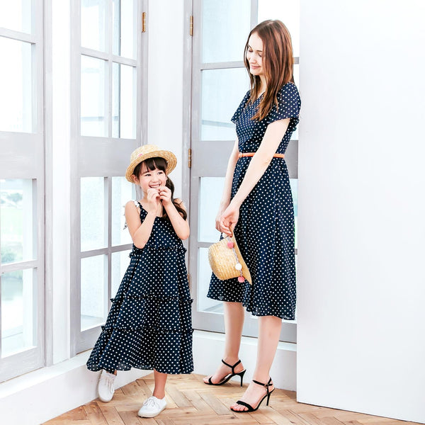 (Mommy & Me) Navy Polka-dot dress (set of 2)