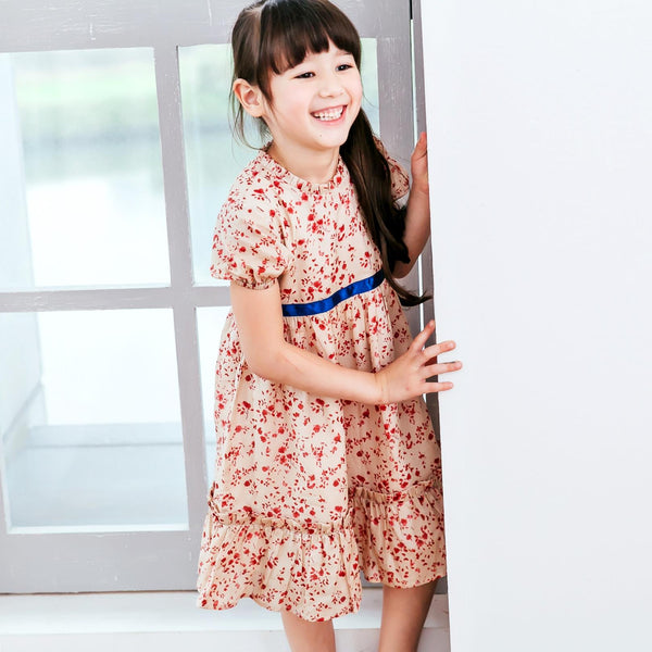 (Girl) Cherry floral cotton ruffled dress