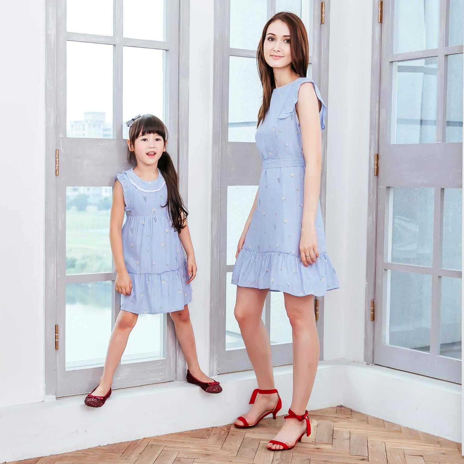 (Mommy and Me) Cotton blue strip fit-n-flare dress