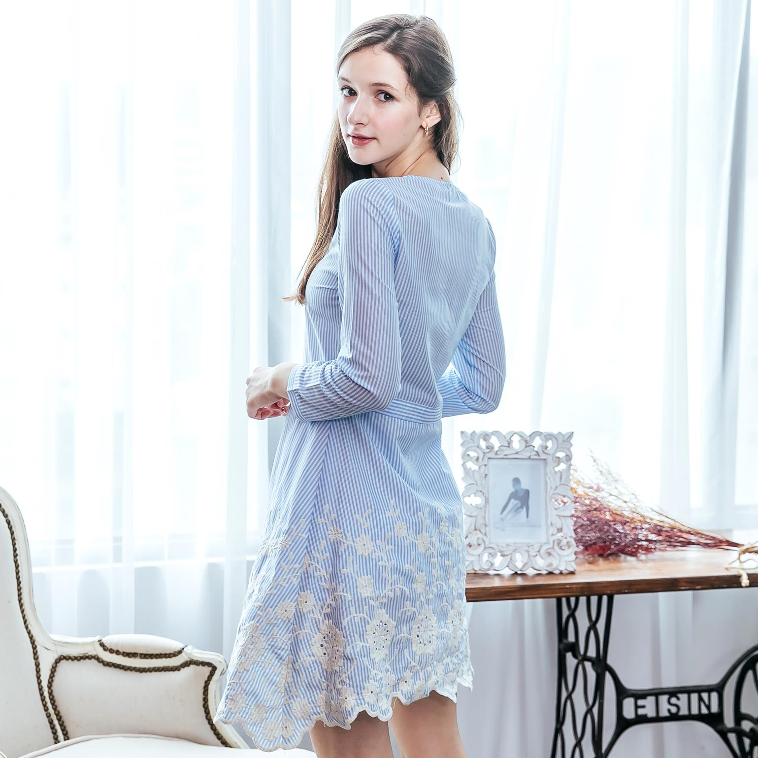 Woman blue embroidered dress