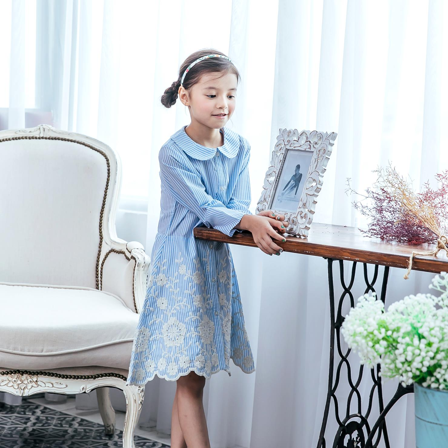 Girl blue embroidered dress