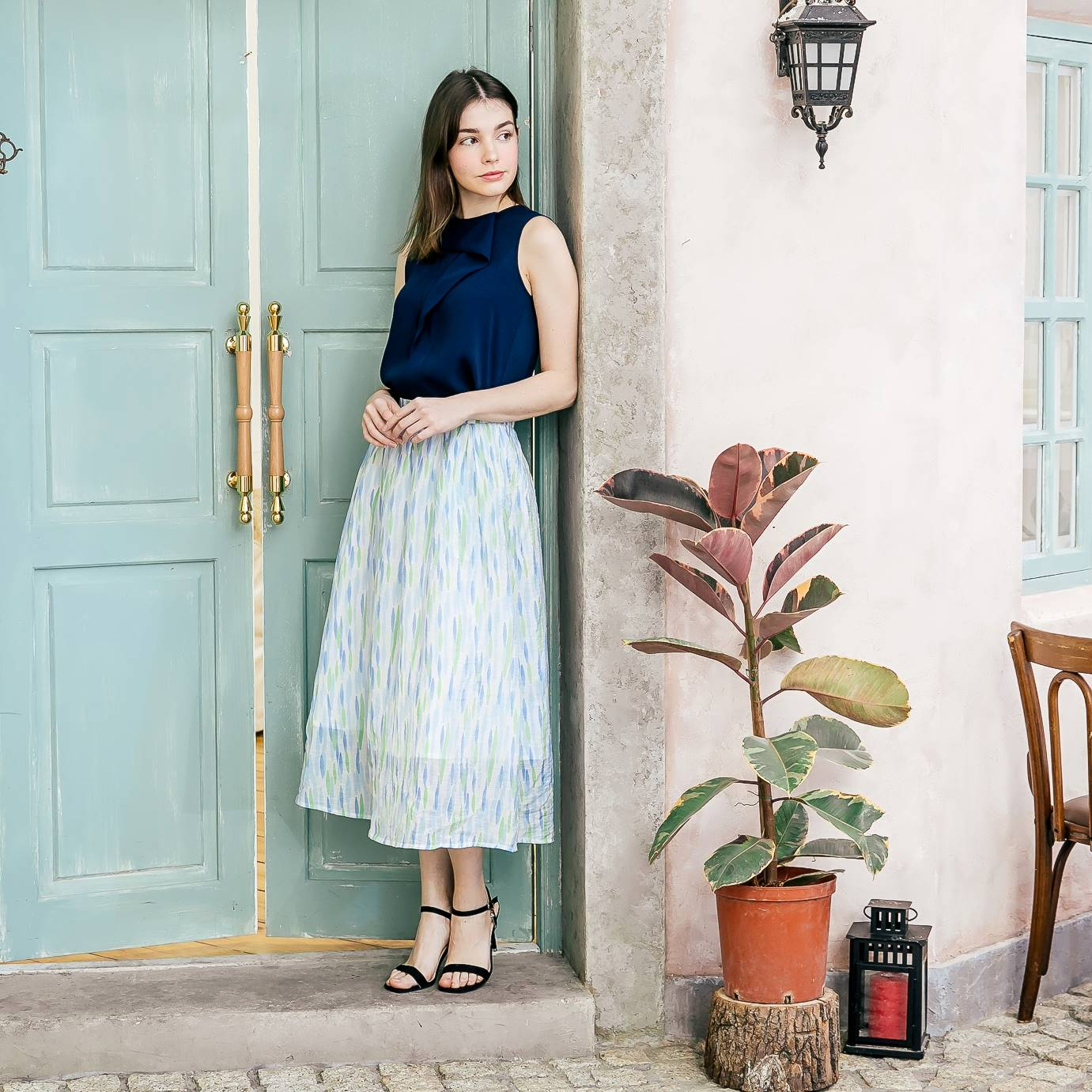 Woman skirt- blue strip skirt