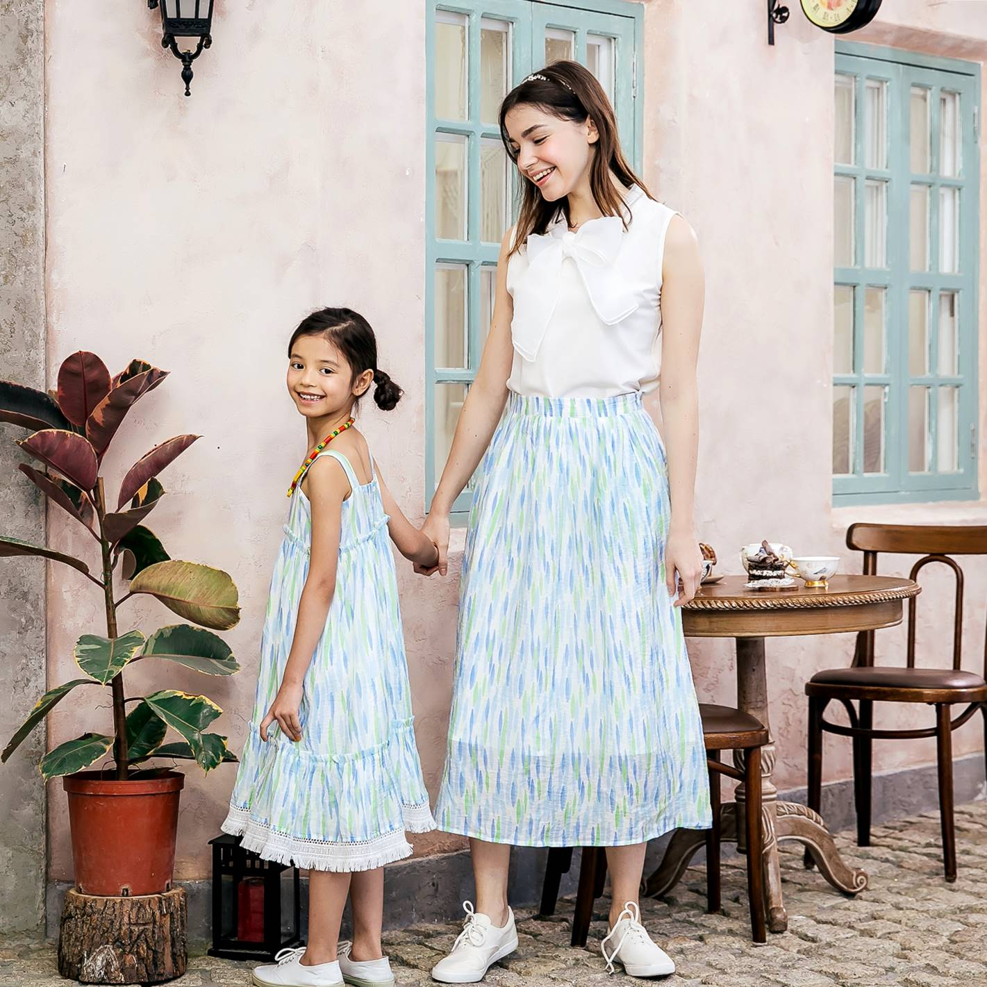 Mommy and Me- matching outfit-Mommy & Me blue strip dress and skirt set (set of 2)