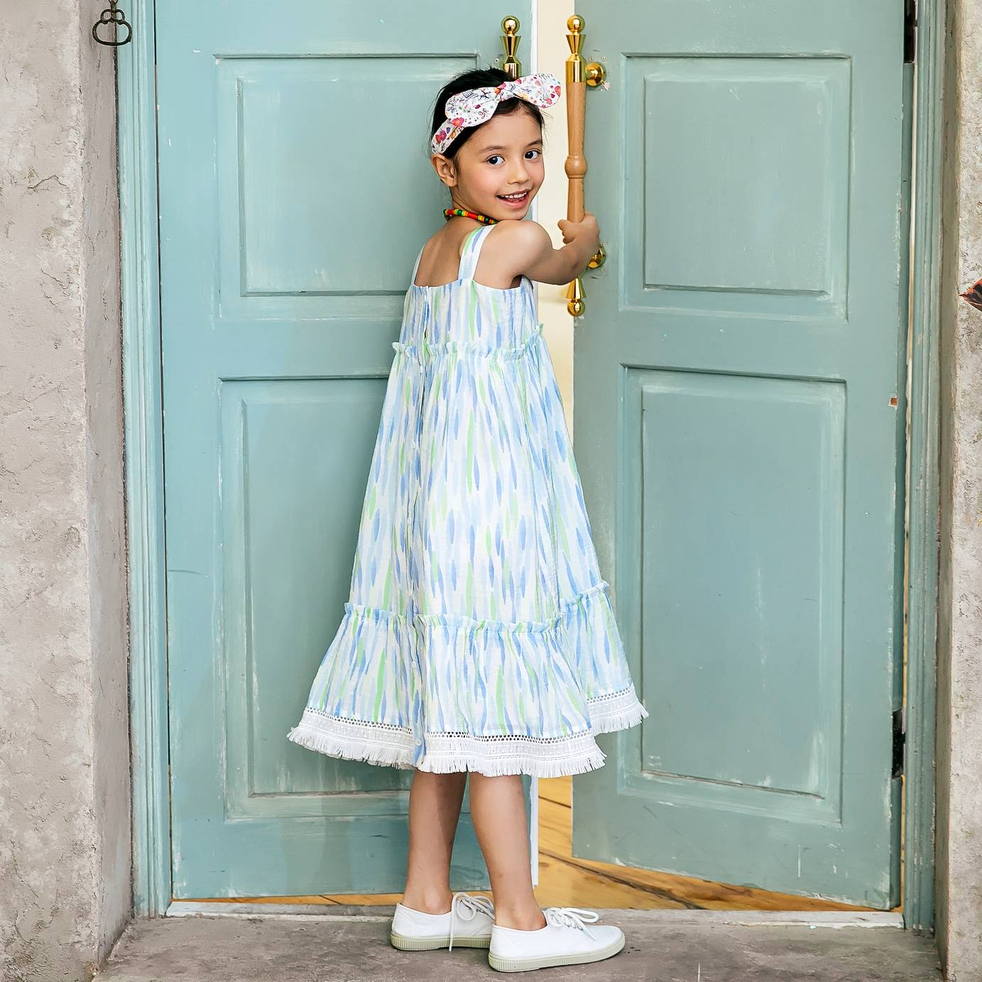 Girl dress- blue strip dress