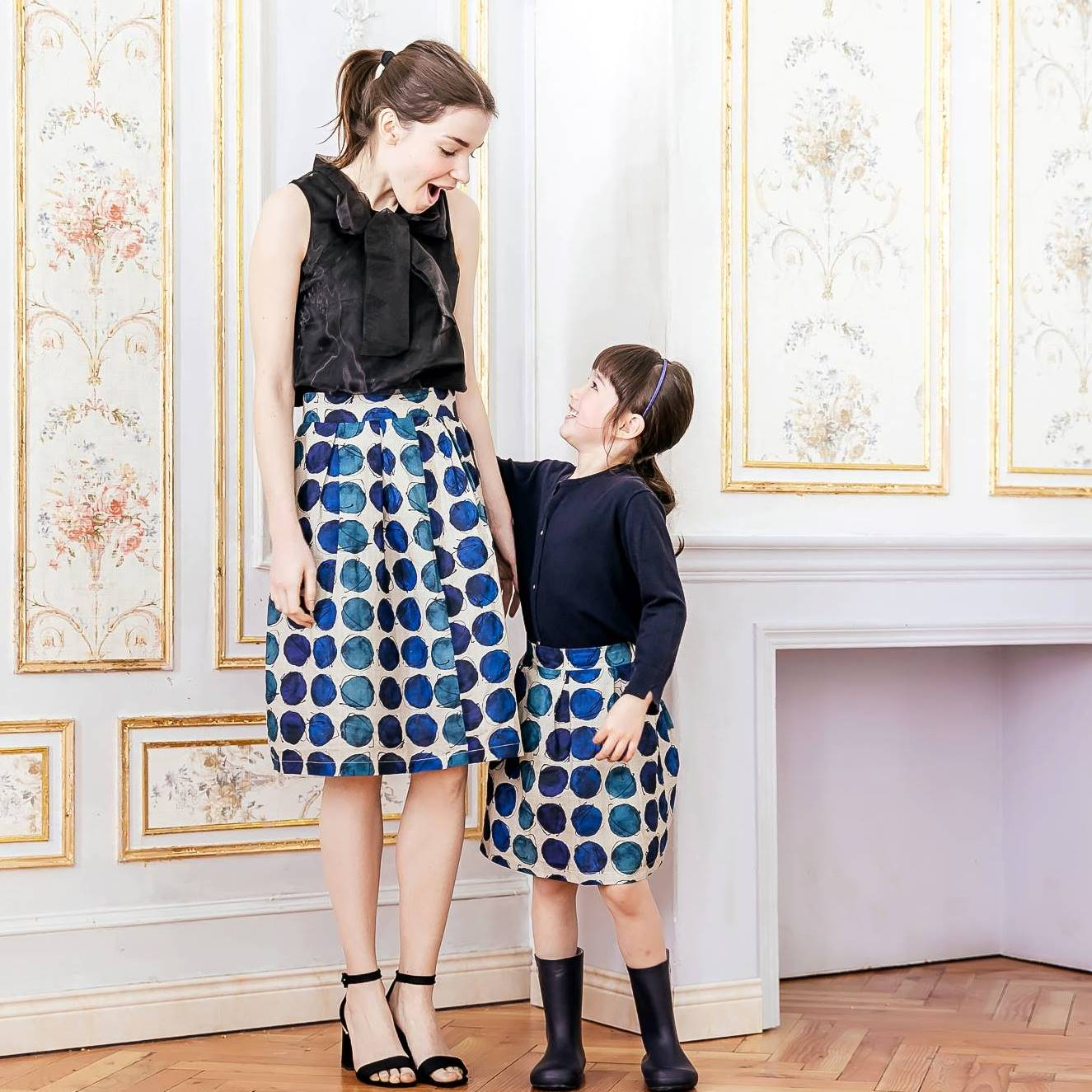 Mommy and Me--Mommy & Me Navy polka-dot dress (set of 2)