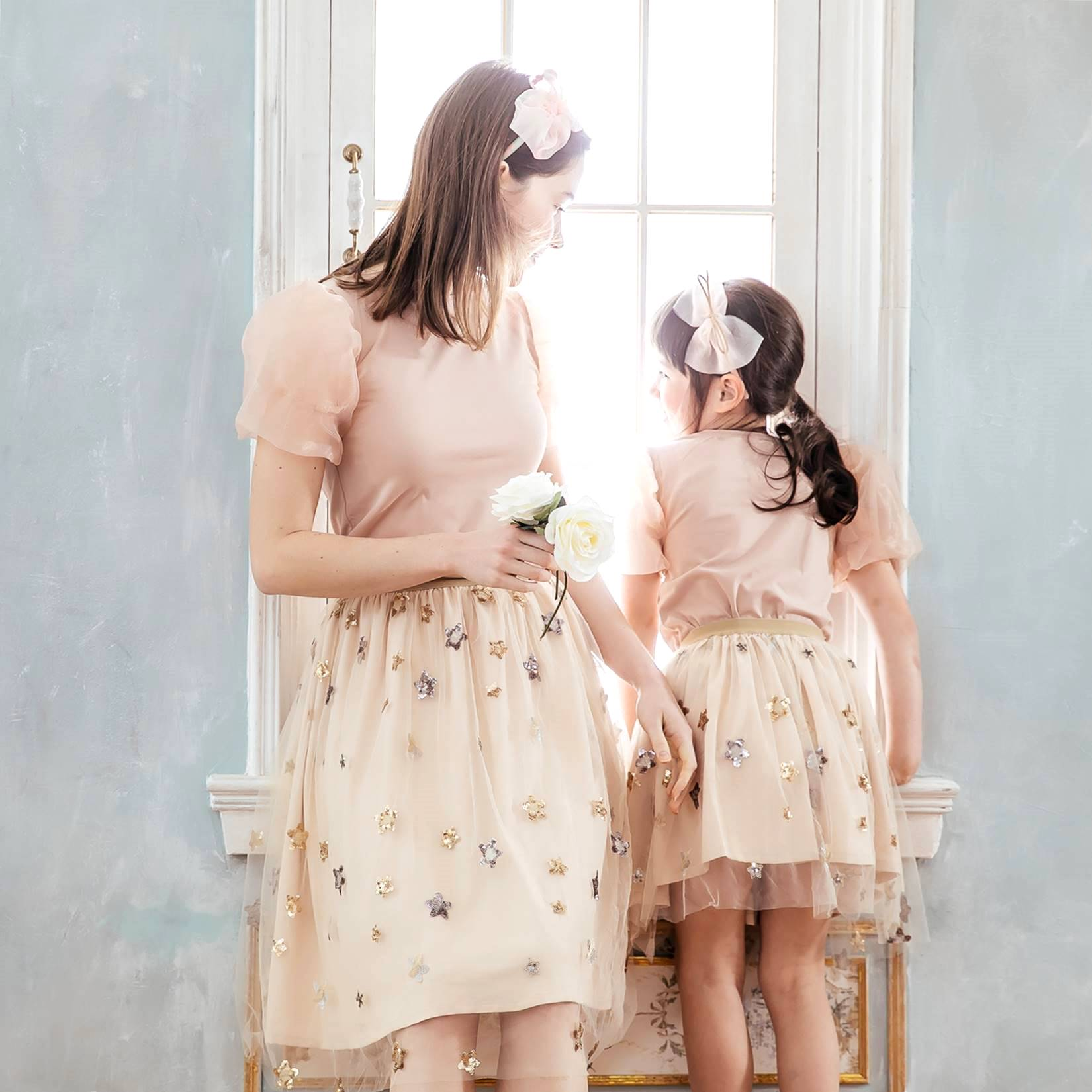 Mommy and Me- matching dress-Elegant embroidered skirts (set of 2)