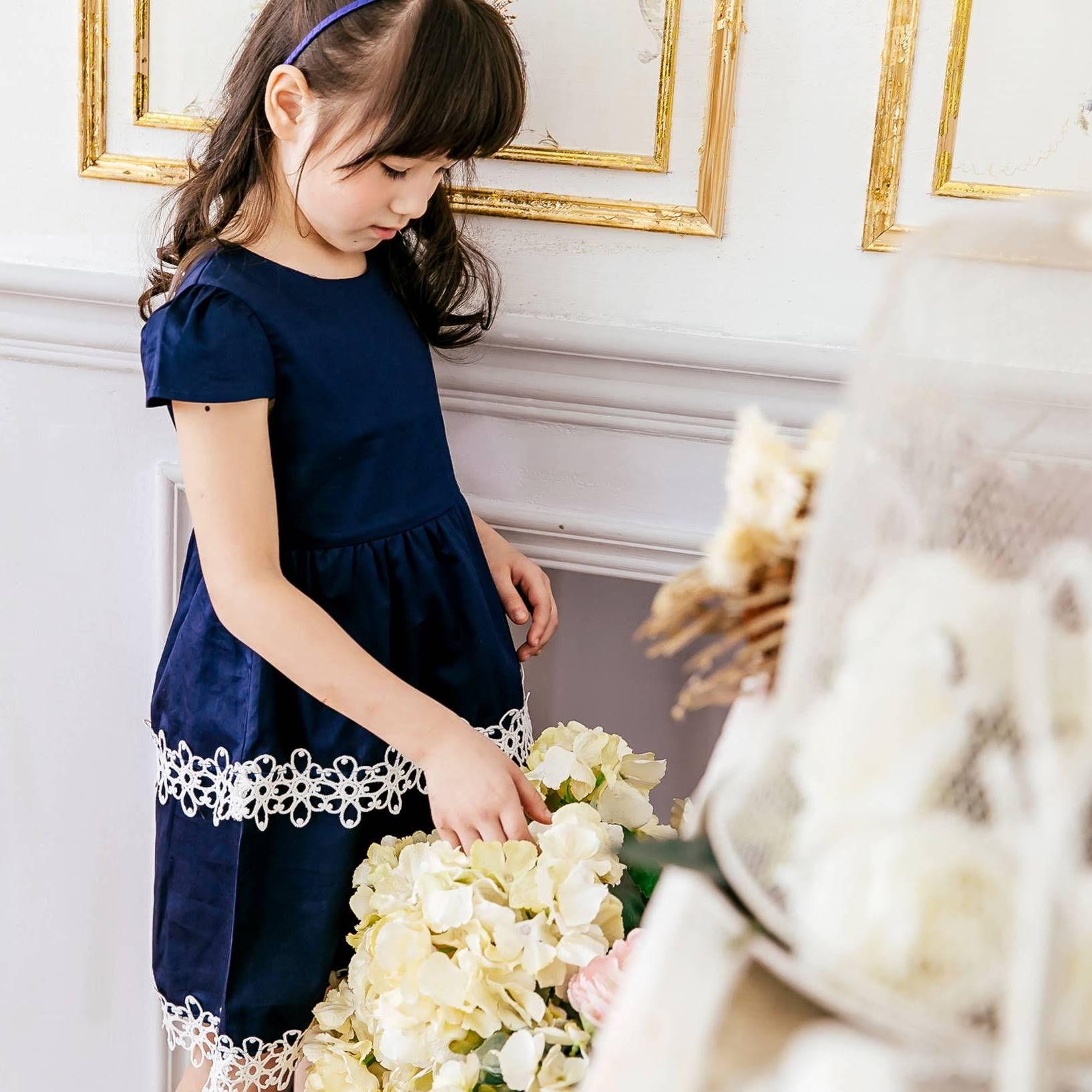 Girl dress-Elegant navy embroidered dress