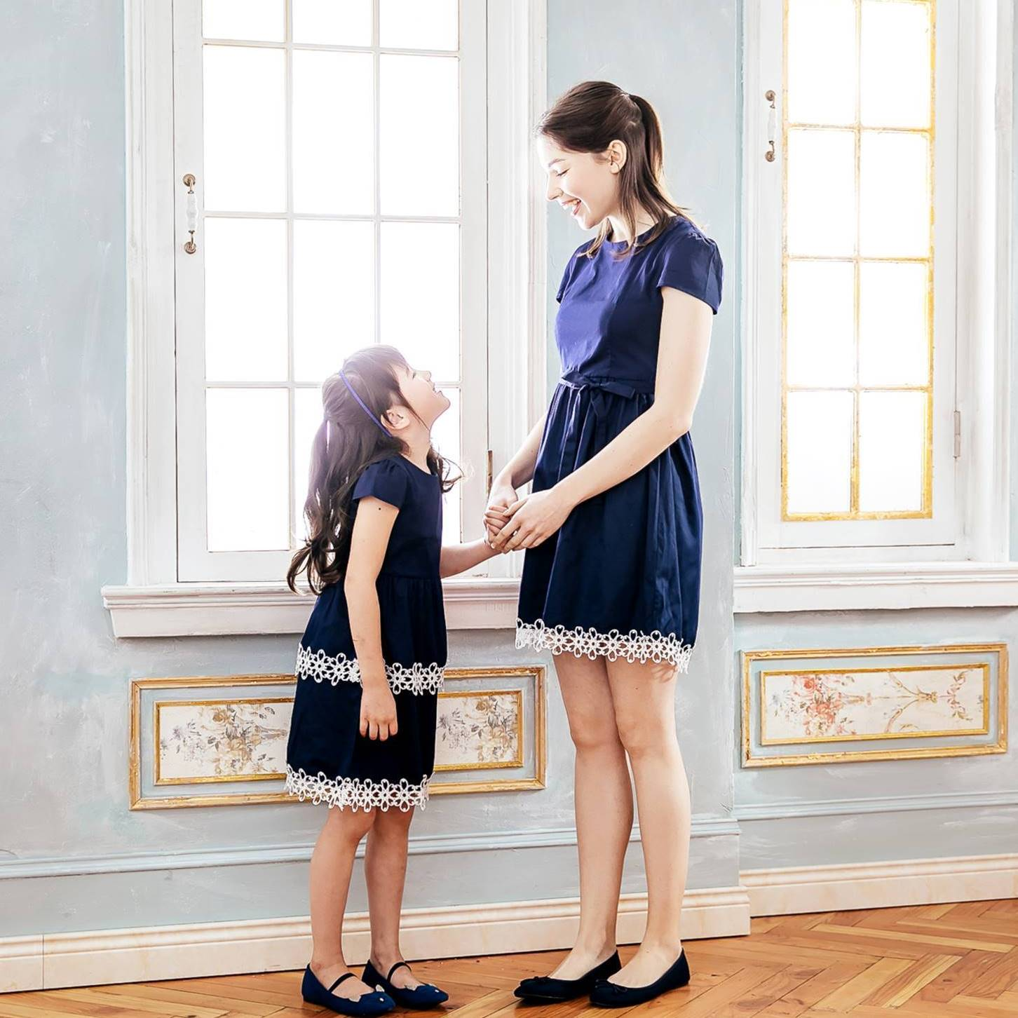 Mommy and Me- matching dress-Mommy & Me Elegant navy embroidered dress (set of 2)