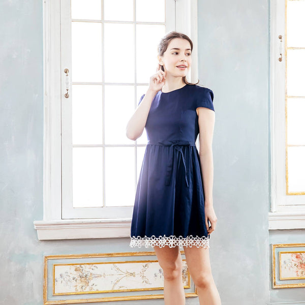 Woman dress- Elegant navy embroidered dress